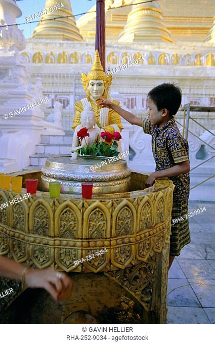 A boy places offerings to the Buddha, Shwedagon Paya Shwe Dagon pagoda, Yangon Rangoon, Myanmar Burma, Asia