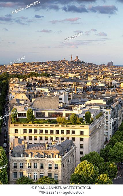 Overhead view of Paris from top of Arc de Triomphe with Basilique du Sacre Coeur beyond, Paris, France
