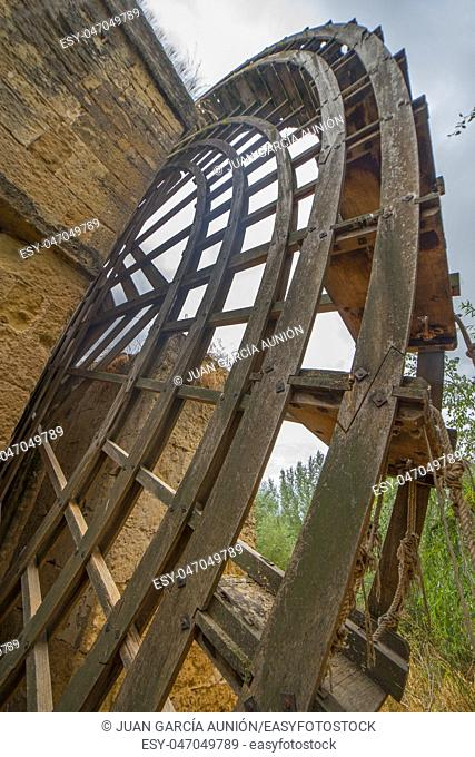 Alboalfia waterwheel or Kulaib mill, Cordoba, Spain. This historical mill was the first one wich made paper in Europe