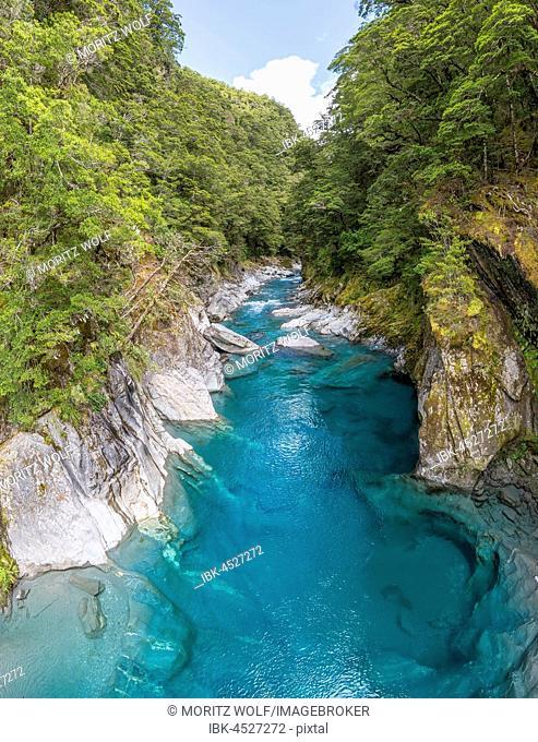 Blue Pools Rock Basin, Makarora River, Turquoise Crystal Water, Wanaka, West Coast, South Island, New Zealand, Oceania