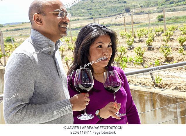 Tourists, Wine tasting, Bodegas Baigorri, Samaniego, Rioja Alavesa, Araba, Basque Country, Spain, Europe