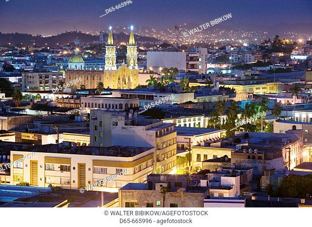 MEXICO-Sinaloa State-Mazatlan: City View with Cathedral / Evening