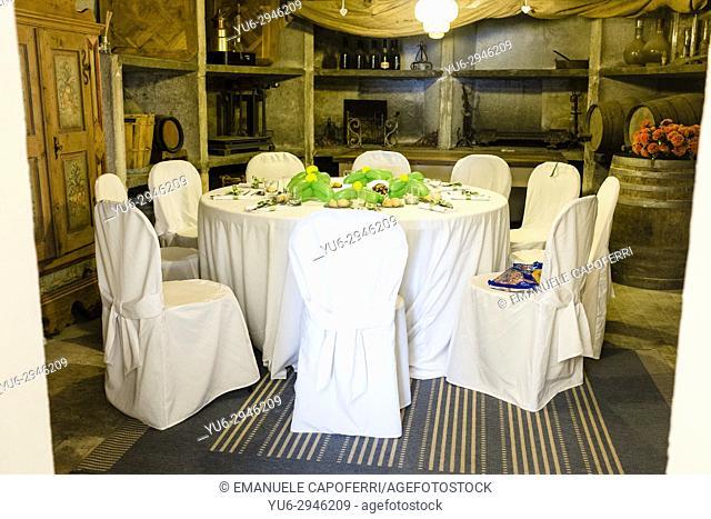 table in the cellar of villa