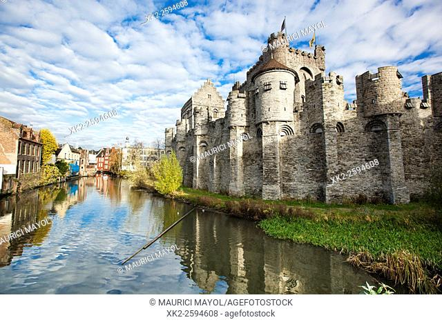 River and Gravensteen, Ghent, Belgium