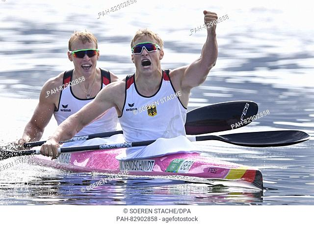 Max Rendschmidt (R) and Marcus Gross of Germany celebrate after winning the Men's Kayak Double 1000m final of the Canoe Sprint events of the Rio 2016 Olympic...