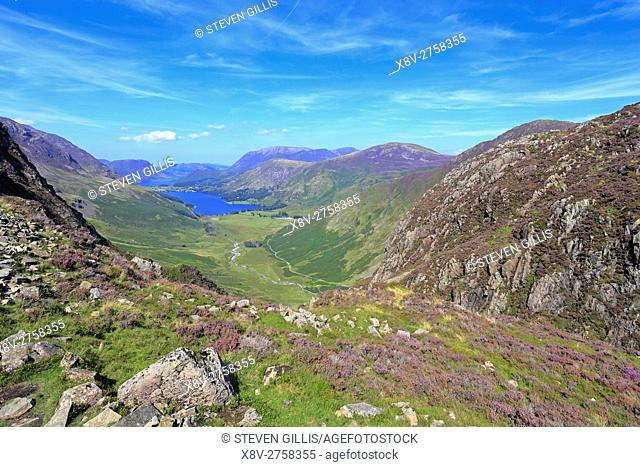 Buttermere and Warnscales Bottom from Green Crag on Haystacks, Cumbria, Lake District National Park, England, UK