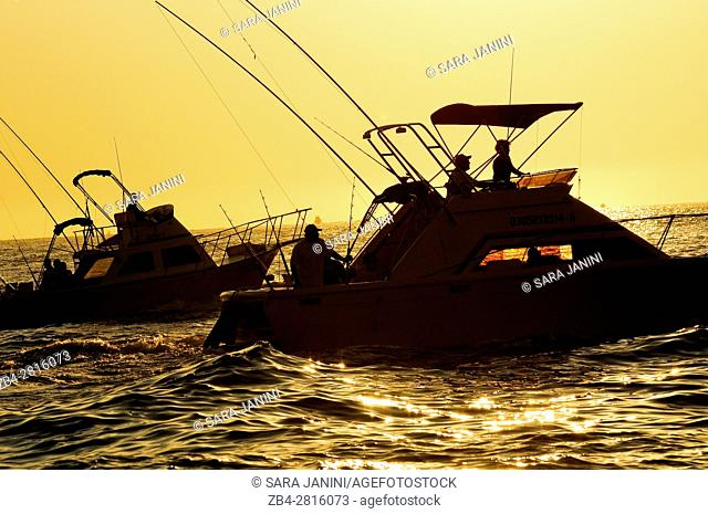 Marlin fishing boats at Land's End, in the Southern Tip of Baja California, were the Sea of Cortez meets the Pacific Ocean