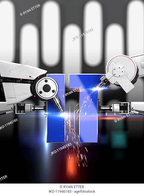Robotic laser beam welding working on letters IT