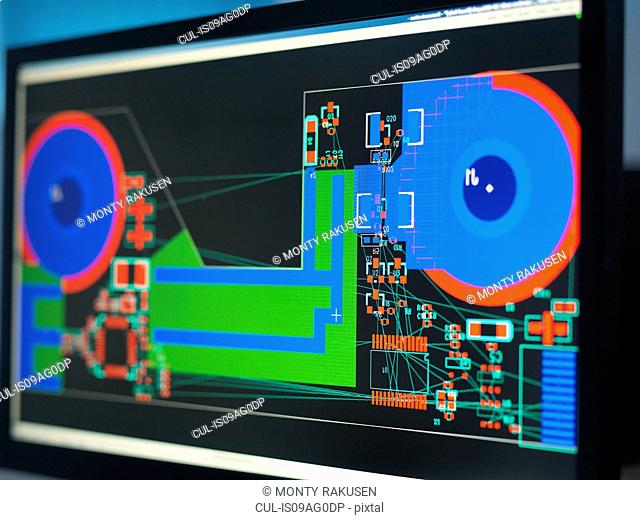 Computer screens with electronic circuitry designs for automotive use