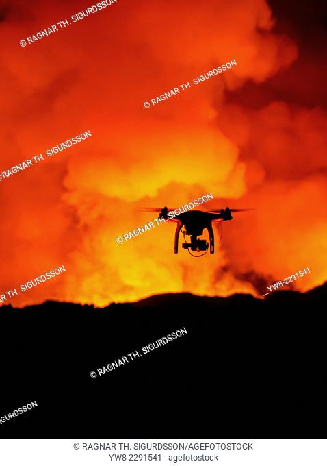 DJI Phantom 2 with GoPro, flying by the Holuhraun Fissure Eruption. August 29, 2014 a fissure eruption started in Holuhraun at the northern end of a magma...