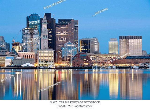 Financial District from East Boston at dawn, Boston, Massachusetts, USA