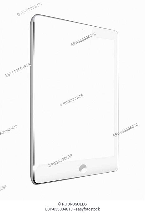 Realistic tablet computer with black screen isolated on white background. Highly detailed illustration