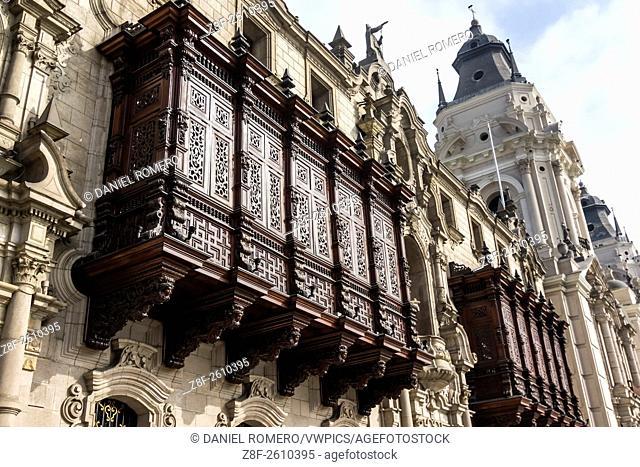 Balconies archbishop's palace. Main Square, Plaza de Armas. Historical Center; Lima district, Lima, Peru