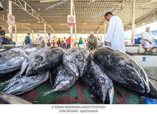 Muscat, Oman - Muttrah corniche (waterfront) Up close view of fish heads at fish market in Mutrah Fish Market