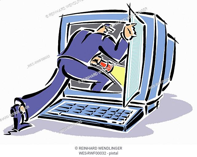 Craftsman breaking into computer screen