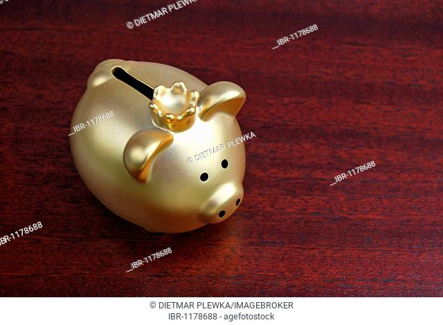 Piggy bank with a crown, gold, on a mahogany desk