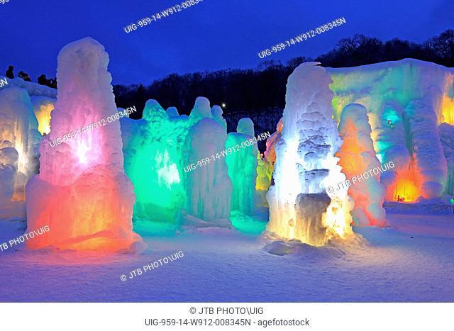 Japan, Hokkaido, Chitose, View of Lake Ice structures at shikotsu ice festival