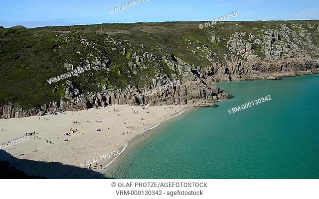 Scenic view over the beach and coastline near Porthcurno seen from the Minack Theatre Cornwall, England, UK