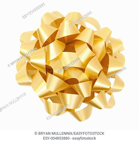 Gold Christmas Bow, includes clipping path