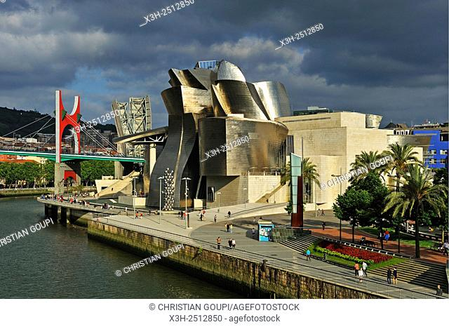 Guggenheim Museum designed by architect Frank Gehry, Bilbao, province of Biscay, Basque Country, Spain, Europe