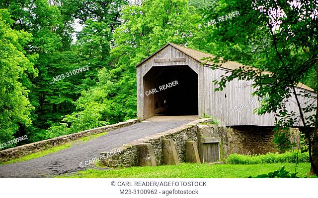 An old wooden bridge in summer, Pennsylvania, USA