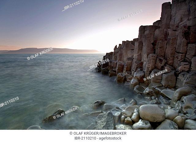 Basalt rock formations on the coast near Hofsós, Skagafjoerdur bay, northern Iceland, Iceland, Europe