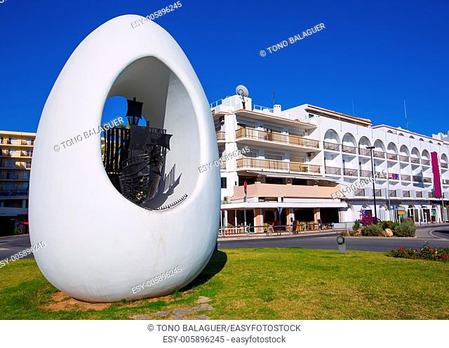 Ibiza san Antonio Abad de Portmany egg square statue downtown Baearic Islands