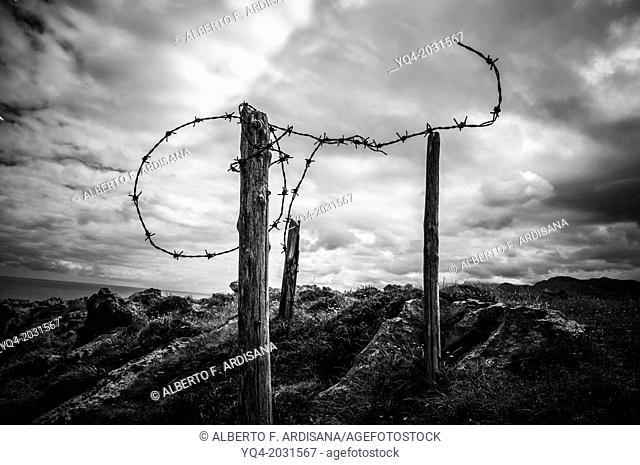 Barbed wire on the coast of Llanes.Asturias.España