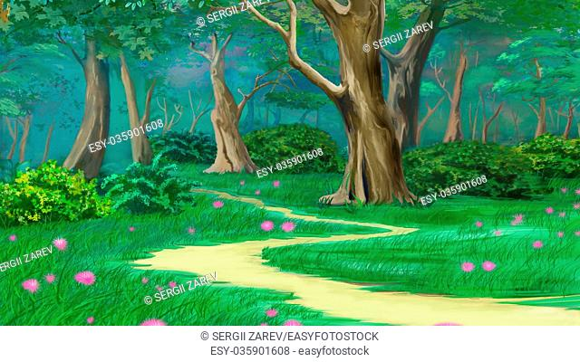 Footpath in a Fairy Tale Summer Forest. Digital Painting Background, Illustration in cartoon style character