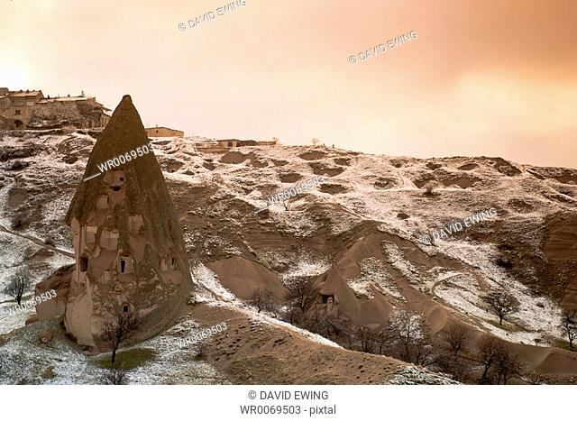 the eerie carved and hollowed out structures of Goreme, Cappadocia, Turkey during the freezing winter months