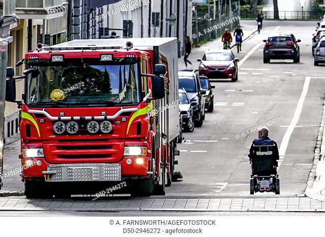 UPPSALA, SWEDEN street scenes Fire engine and wheelchair