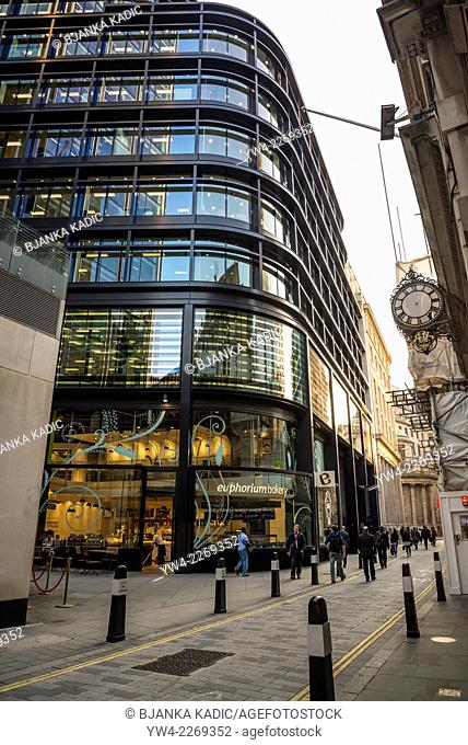 Street in Square Mile with Euphorium bakery, City of London, UK