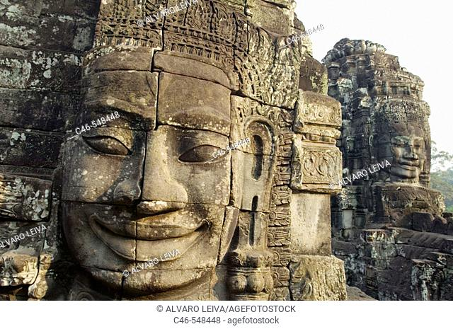 Khmer architecture. Barroque peak. The Bayon temple (12th/13th Century). Angkor Thom. Cambodia