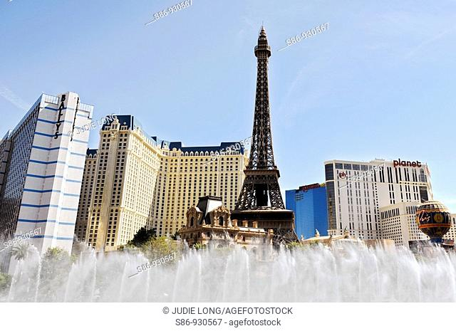 View of Paris Hotel and Las Vegas Skyline from the Bellagio Hotel