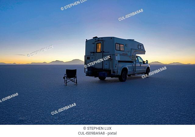 Recreational vehicle parked on salt flats, Salar de Uyuni, Uyuni, Oruro, Bolivia, South America