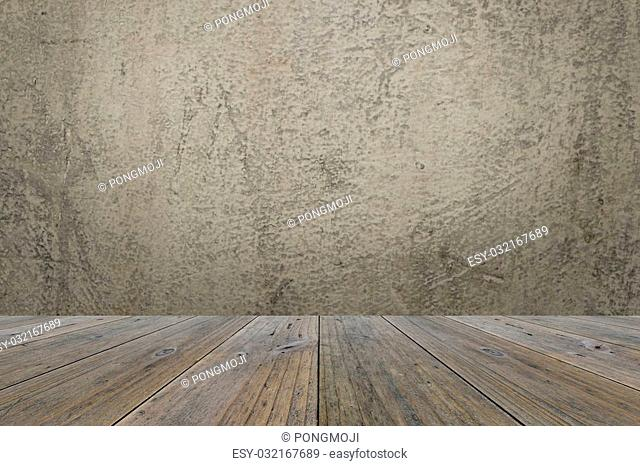 Wood terrace and concrete wall interior texture background
