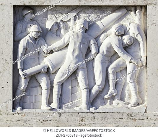 Relief with war representations of the Fascists on the Ponte Duca D'Aosta built between 1939 and 1942, Rome, Lazio, Italy, Europe