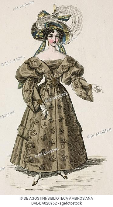 Woman wearing a brown dress with puffed sleeves and yellow and blue striped hat adorned with coloured ribbons and feathers, plate 73, French Fashions