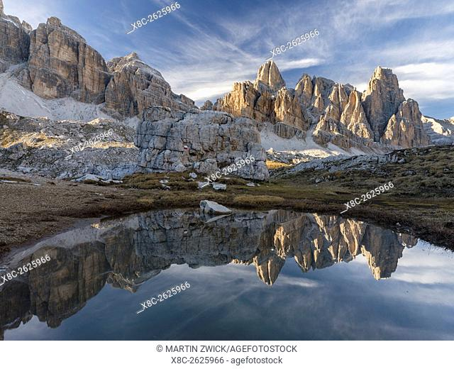 The Fanis mountains seen from Val Travenanzes in the nature park Fanes Sennes Prags (Fanes - Senes - Braies) in the Dolomites near Cortina d'Ampezzo