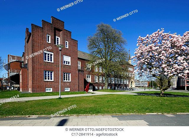 Germany, Herten, Ruhr area, Westphalia, North Rhine-Westphalia, NRW, municipal grammar school and music school, academic high school, education, school building