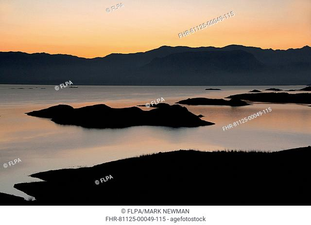 View of reservoir at sunset, Lake Mead, Lake Mead National Recreation Area, Nevada, U S A , march