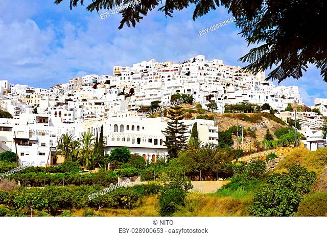 panoramic view of the charming town Mojacar, in Spain