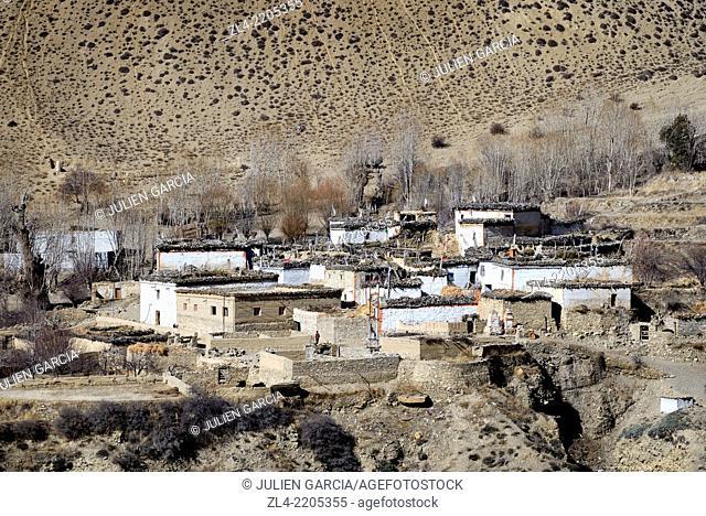 The small village of Gyakar. Nepal, Gandaki, Upper Mustang (near the border with Tibet)