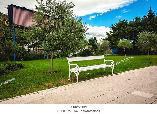 Beautiful view of white bench in park with trees and lawn