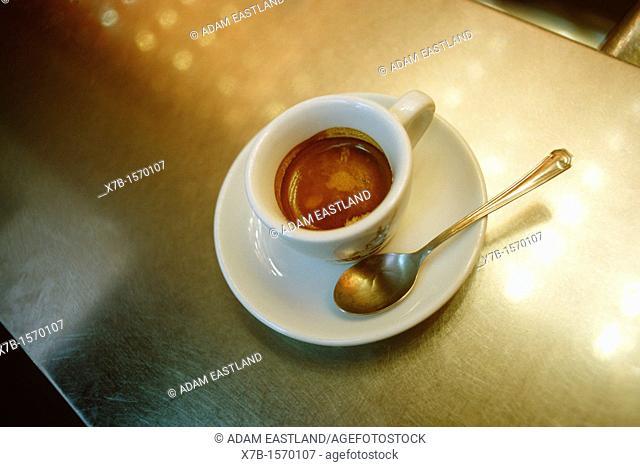 Naples  Italy  Espresso coffee on zinc bar counter