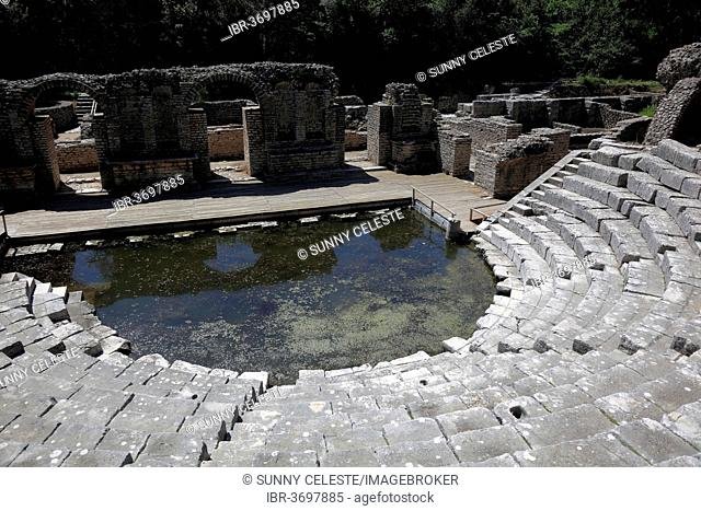 Theatre in the ruins of the ancient city of Butrint, UNESCO World Cultural Heritage Site, Butrint, near Saranda, Vlorë County, Albania