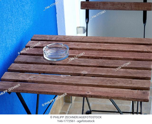 Ashtray on a table at Capo d'orlando, Siciliy