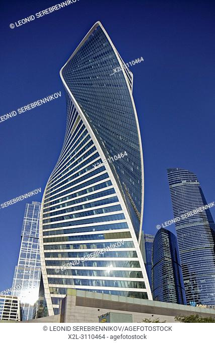 """Evolution Tower at Moscow International Business Centre (MIBC), also known as """"Moscow City"""""""". Moscow, Russia"""
