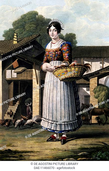 Typical costume of Brianza, colour printing. Italy, 19th century