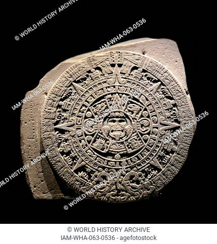 The Aztec calendar stone, Sun stone, or Stone of the Five Eras is a late post-classic Mexican sculpture saved in the National Anthropology Museum